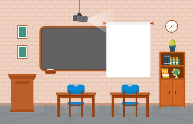 Pusta Klasa Wnętrza Edukacja Szkoła Podstawowa Klasa Nikt Ilustracja Premium Wektorów