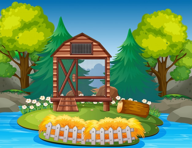 Pusta klatka na ilustracji zoo