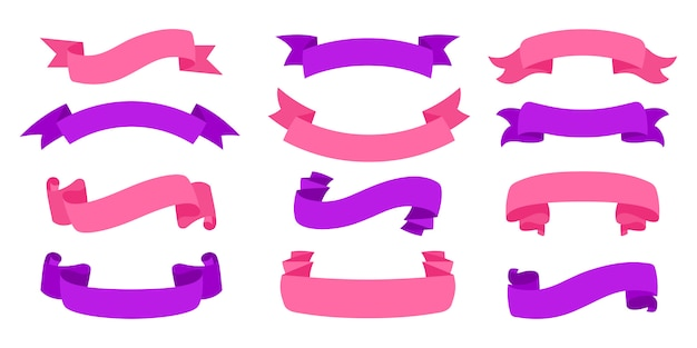 Pusta kolekcja vintage wstążki. taśma płaska zestaw ikon dekoracyjnych. kolorowe wstążki wzór znak stylu cartoon. zestaw ikon internetowych z taśmami tekstowymi, kartkami okolicznościowymi, zaproszeniami. ilustracja na białym tle