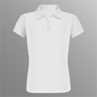 Pusta koszulka polo. biały wektorowy odosobniony szablon