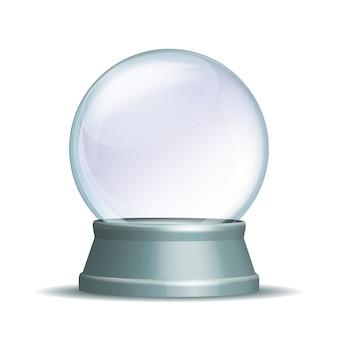 Pusta kula śnieżna. magiczna szklana kula na jasnoszarym cokole na białym tle. ilustracja eps 10