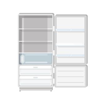 Pusta lodówka z otwartymi drzwiami, półkami i tacami na białym tle.