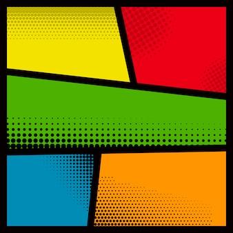 Pusta makieta strony komiksu z kolorowym tłem. element plakatu, karty, druku, banera, ulotki. wizerunek
