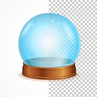 Pusta niebieska kryształowa kula na białym tle. symbol czarów