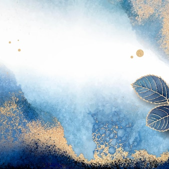 Pusta niebieska ramka liściasta