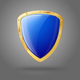 Pusta niebieska realistyczna błyszcząca tarcza ze złotą obwódką
