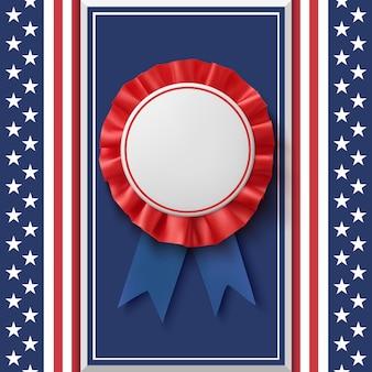 Pusta odznaka. nagroda patriotyczne wstążki na streszczenie tło.