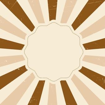 Pusta odznaka retro z tłem sunburst