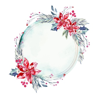 Pusta odznaka z zimowymi kwiatami tło