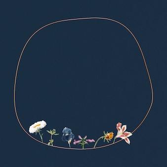 Pusta okrągła ramka w kwiaty