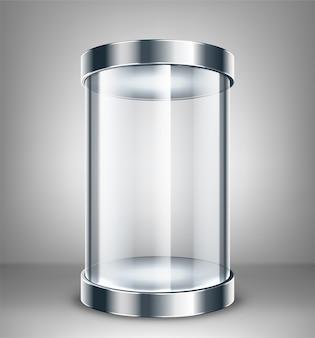 Pusta okrągła szklana gablota wystawowa. szklane miejsce wystawowe do prezentacji. ilustracja