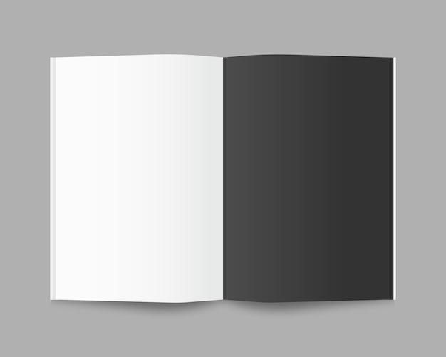 Pusta otwarta książka, czasopismo i notatnik z miękkimi cieniami. odosobniony. projekt szablonu realistyczna ilustracja.