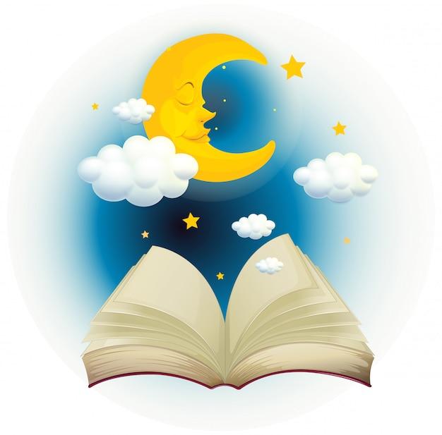 Pusta otwarta książka ze śpiącym księżycem
