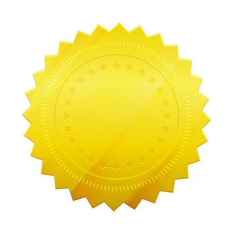 Pusta pieczęć żeton złota na białym tle