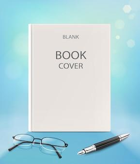 Pusta pionowa okładka książki, na niebieskim backgraund z okularami i piórem. ilustracja
