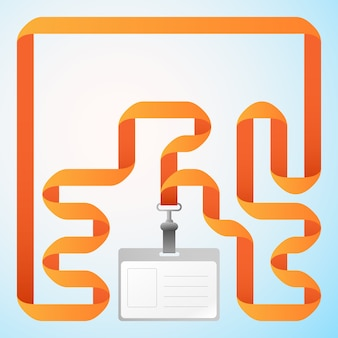 Pusta plastikowa karta identyfikacyjna firmy z pomarańczową wstążką