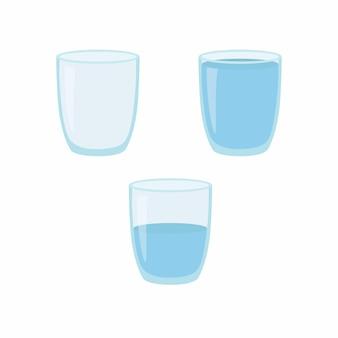Pusta, pół i pełna szklanka wody. ilustracja wektorowa na białym tle.