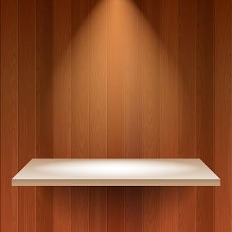 Pusta półka w drewnianym tle.