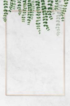 Pusta prostokątna ramka liściasta
