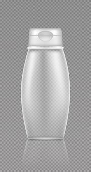 Pusta przezroczysta makieta butelki kosmetycznej na żel pod prysznic, szampon, balsam, krem, środek czyszczący