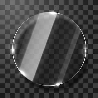 Pusta przezroczysta szklana ramka w formie koła