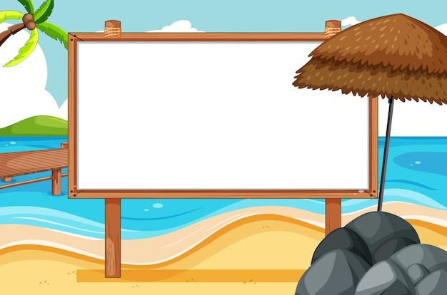 Pusta rama drewniana w scenie na plaży
