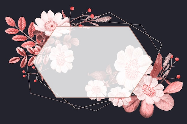 Pusta rama wektor na letnim kwiatowym wzorze