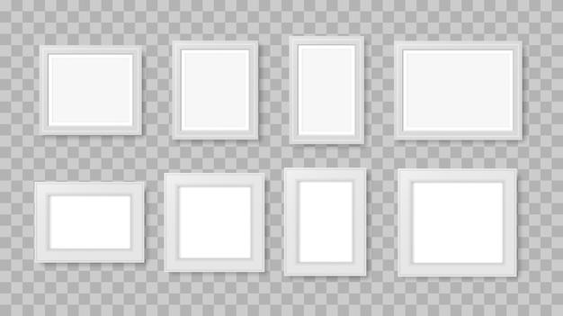 Pusta ramka na zdjęcia na ścianie. biała realistyczna kwadratowa pusta ramka na zdjęcia na białym tle