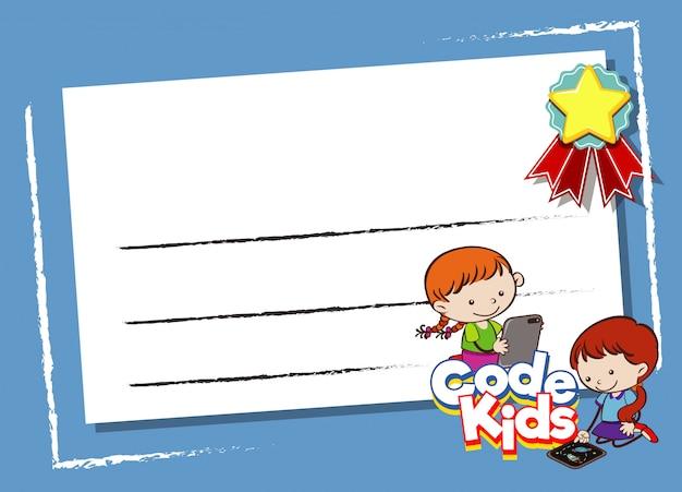 Pusta ramka z dziećmi korzystającymi z komputera