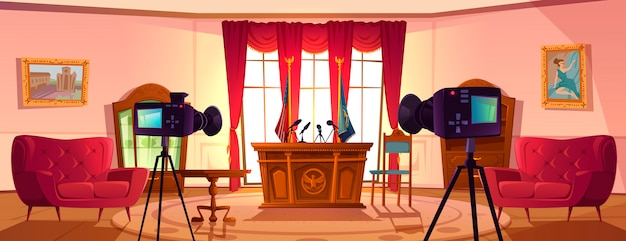 Pusta sala konferencyjna do negocjacji z prezydentem