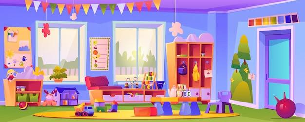 Pusta sala przedszkolna z zabawkami i kostkami
