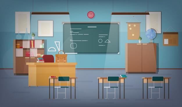 Pusta sala szkolna z zieloną tablicą, lampkami wiszącymi, różnymi materiałami edukacyjnymi, biurkami, krzesłami i innymi meblami dla nauczyciela i uczniów. kolorowe ilustracje wektorowe w stylu płaski.