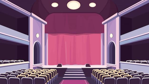 Pusta sala teatralna. scena z zasłoną.