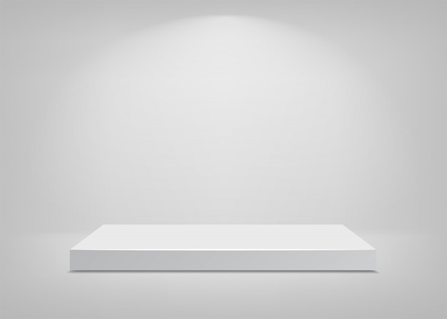 Pusta scena. białe tło. podium do prezentacji. ilustracja.
