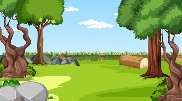 Pusta scena krajobrazowa łąka z wieloma drzewami