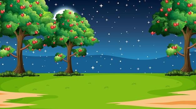Pusta scena krajobrazu parku przyrody w nocy