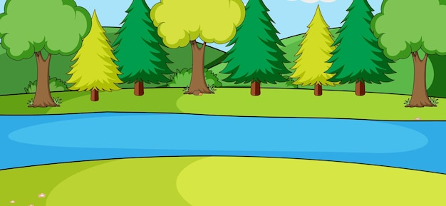 Pusta scena krajobrazu parku z wieloma drzewami i rzeką
