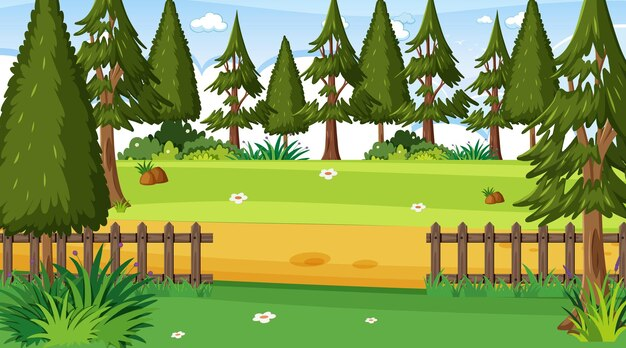 Pusta scena ogrodowa z wieloma drzewami