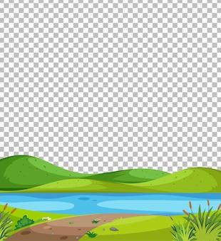 Pusta scena parku przyrody z rzeką na przezroczystym tle