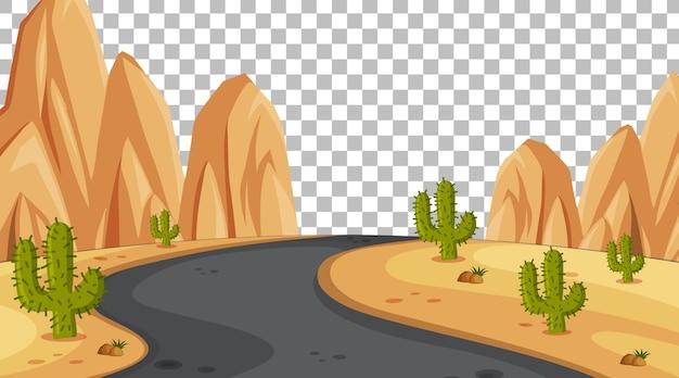 Pusta scena pustyni przyrody z długą drogą na przezroczystym tle