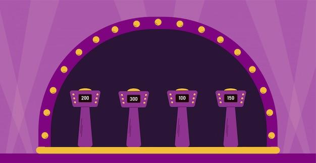 Pusta scena quizu telewizyjnego z podstawkami dla graczy