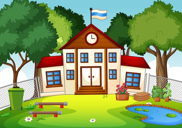 Pusta scena z budynkiem szkolnym w przyrodzie