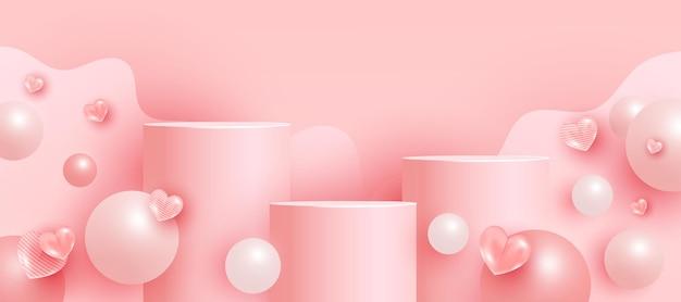 Pusta scena z podiumami, cokołami lub platformami, kształtami bąbelków. minimalistyczna scena z geometrycznymi formami do prezentacji produktów.