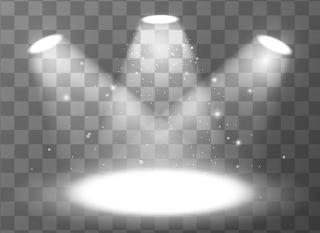 Pusta scena z trzema światłami reflektorów na przezroczystym tle