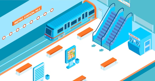 Pusta stacja metra z przyjeżdżającymi schodami ruchomymi pociągu, budką policyjną i izometryczną mapą 3d