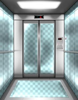 Pusta szklana kabina windy z przezroczystymi ścianami