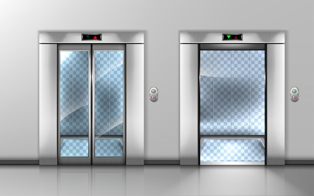 Pusta szklana winda z otwartymi i zamkniętymi drzwiami