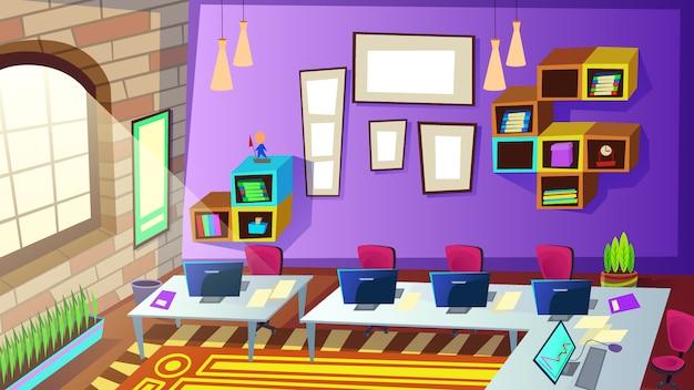 Pusta szkoła, sala szkoleniowa personelu firmy ilustracja wnętrza