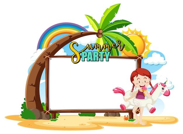Pusta tablica banerowa z dziewczyną na plaży na białym tle