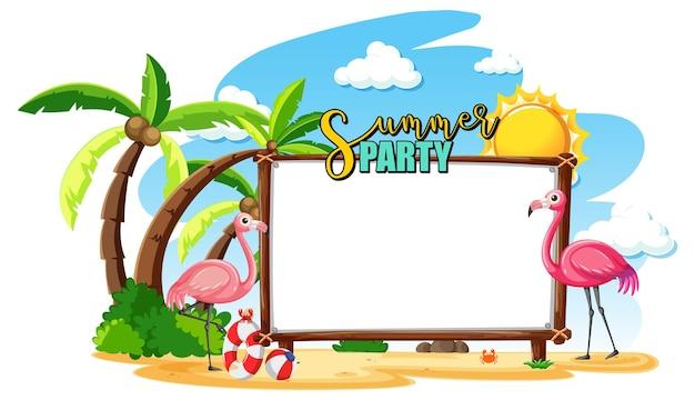 Pusta tablica banerowa z flamingiem na plaży na białym tle